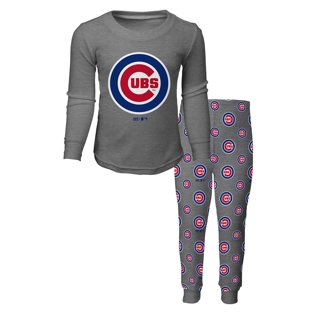Chicago Cubs Toddler, Kids, Youth, Long Sleeve T-Shirt And Pants Sleep Set Pajamas By Majestic