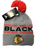Chicago Blackhawks NHL Adidas City Style Cuffed Knit Hat With Pom - Gray