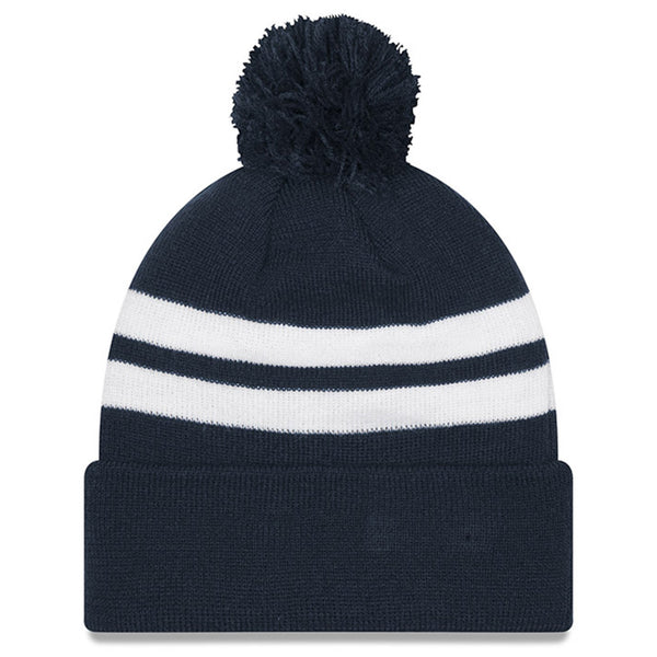 New Era Chicago Bears Men's Navy Striped Cuffed Pom Knit Hat