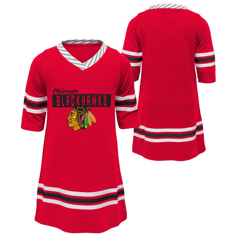 Chicago Blackhawks Baby Red Sassy Skater 1/2 Sleeve Tunic Dress Jersey Style