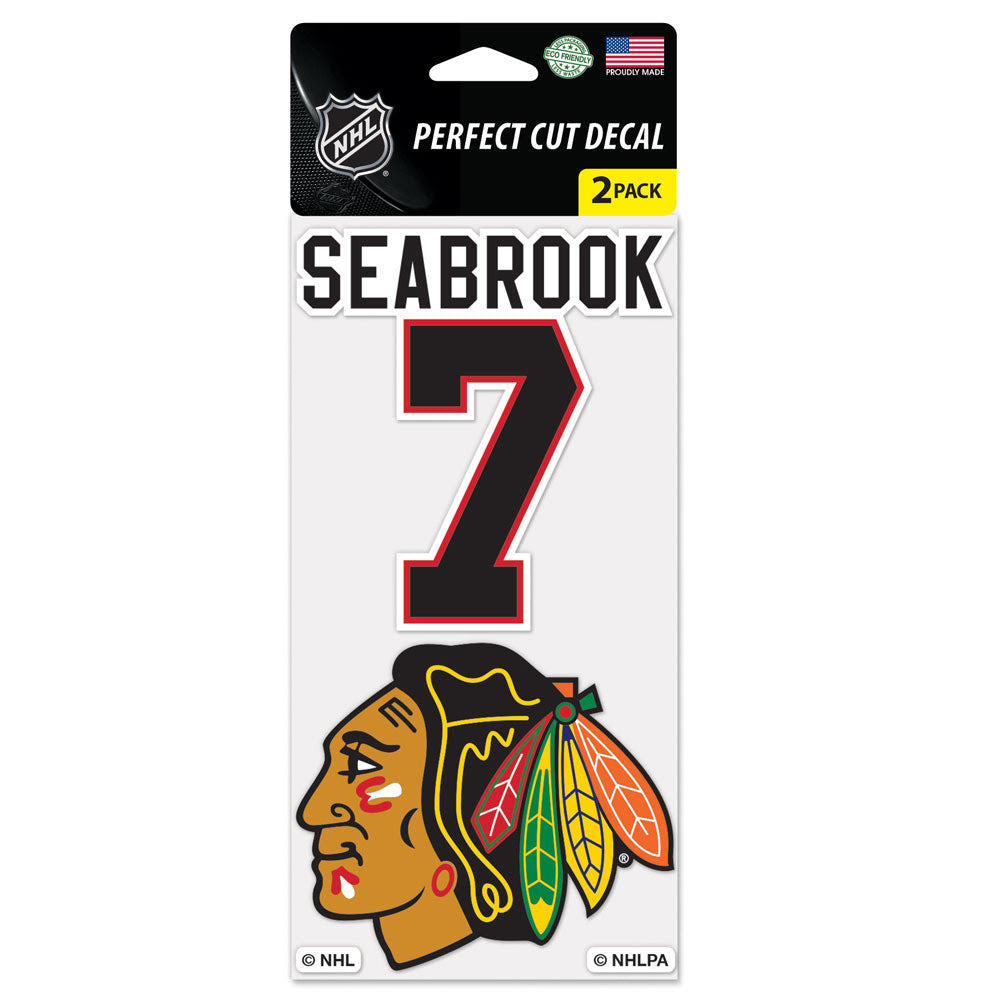 "Chicago Blackhawks Wincraft Perfect Cut Decal 2 Pack 4""x4"" Brent Seabrook"