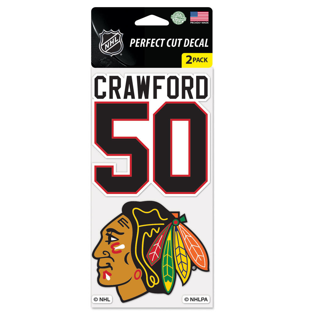 "Chicago Blackhawks Wincraft Perfect Cut Decal 2 Pack 4""x4"" Corey Crawford"