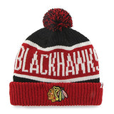 "Chicago Blackhawks Red Cuff ""Calgary"" Beanie Hat with POM POM - NHL Cuffed Winter Knit Toque Cap"
