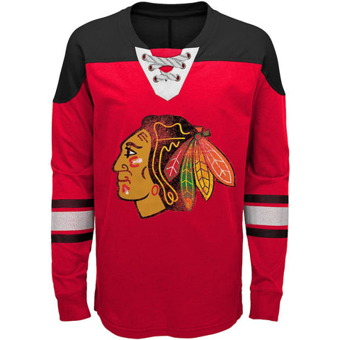 Chicago Blackhawks Youth NHL Red/Black Perennial Hockey Lace-Up Long Sleeve Tee