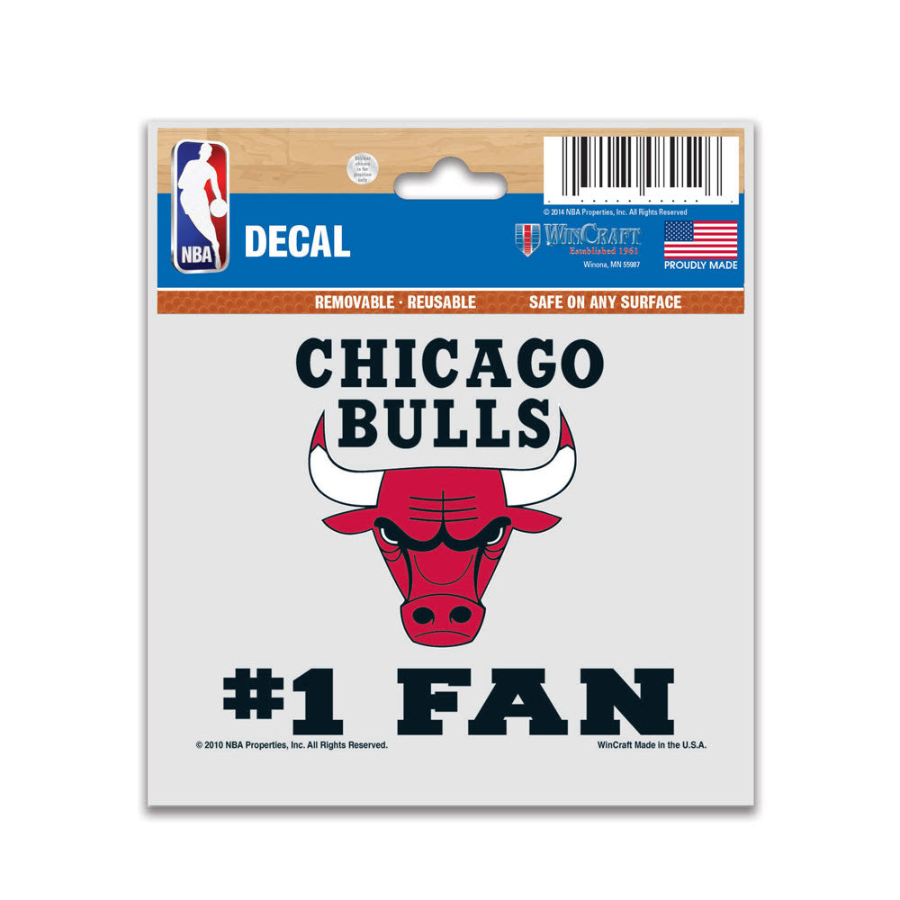 "Chicago Bulls Wincraft #1 Fan Multi-Use Decal 3"" x 4"""