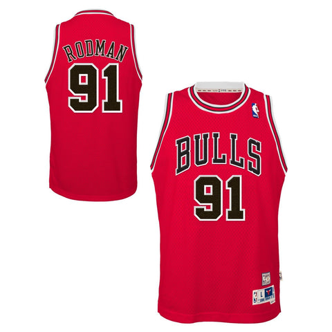 Chicago Bulls Youth Dennis Rodman Red Jersey Hardwood Classic Swingman