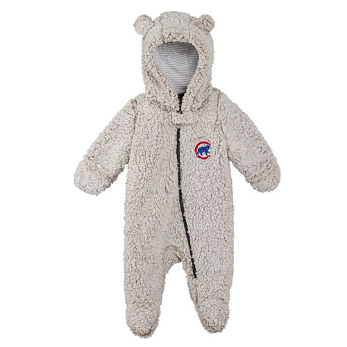 OuterStuff Chicago Cubs Infant Game Nap Teddy Fleece Zip-Up Coverall