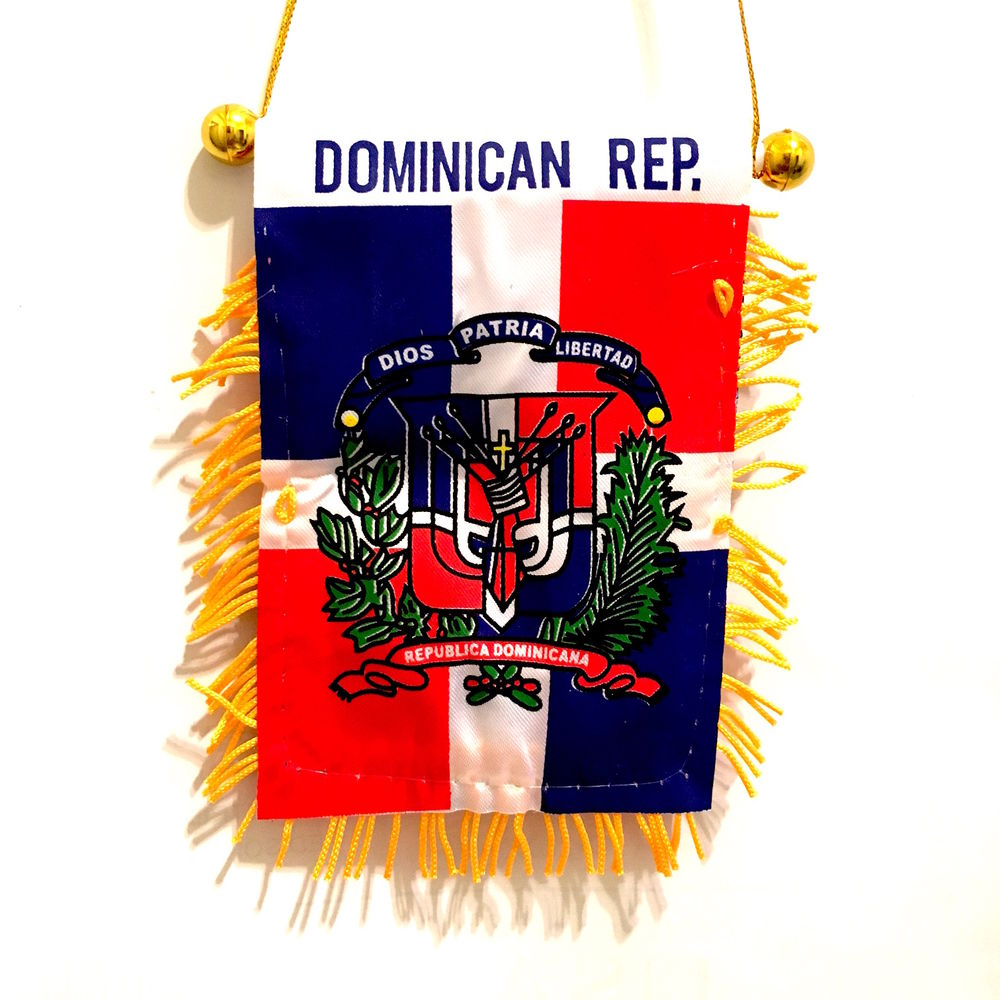 "Dominican Tassel Flag Mini Banner 4""x6"" Pack Of Two Dominican Pennant 15 x 10 CM"