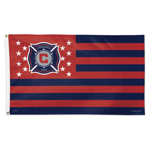 Chicago Fire MLS Official 3' x 5' Deluxe Stars & Stripes Team Flag - Red