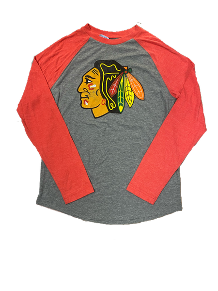 Chicago Blackhawks Fanatics NHL Men's Long Sleeve Distressed T-Shirt -Red/Gray