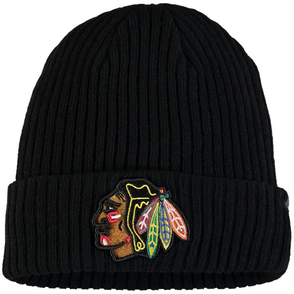 Chicago Blackhawks Fanatics Branded Core Cuffed Knit Hat - Black