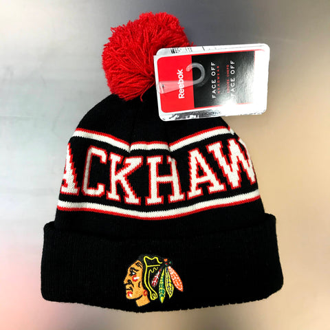 Chicago Blackhawks Reebok Youth Cuffed Knit Hat with Pom - Black