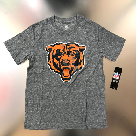 Chicago Bears Youth Gray Distressed Bear Logo T-shirt