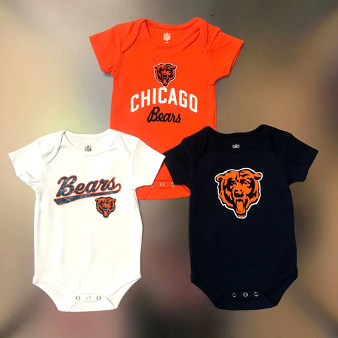 Chicago Bears Infant Creeper 3-Piece Bundle (Orange, Navy, White)