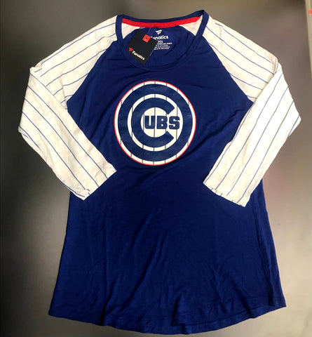 Chicago Cubs MLB Ladies Fanatics Pinstripes 3/4 Sleeve Shirt