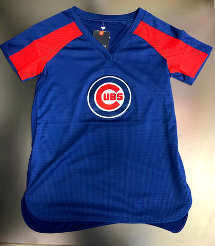 Chicago Cubs MLB Ladies Fanatics Jersey Mesh T-shirt