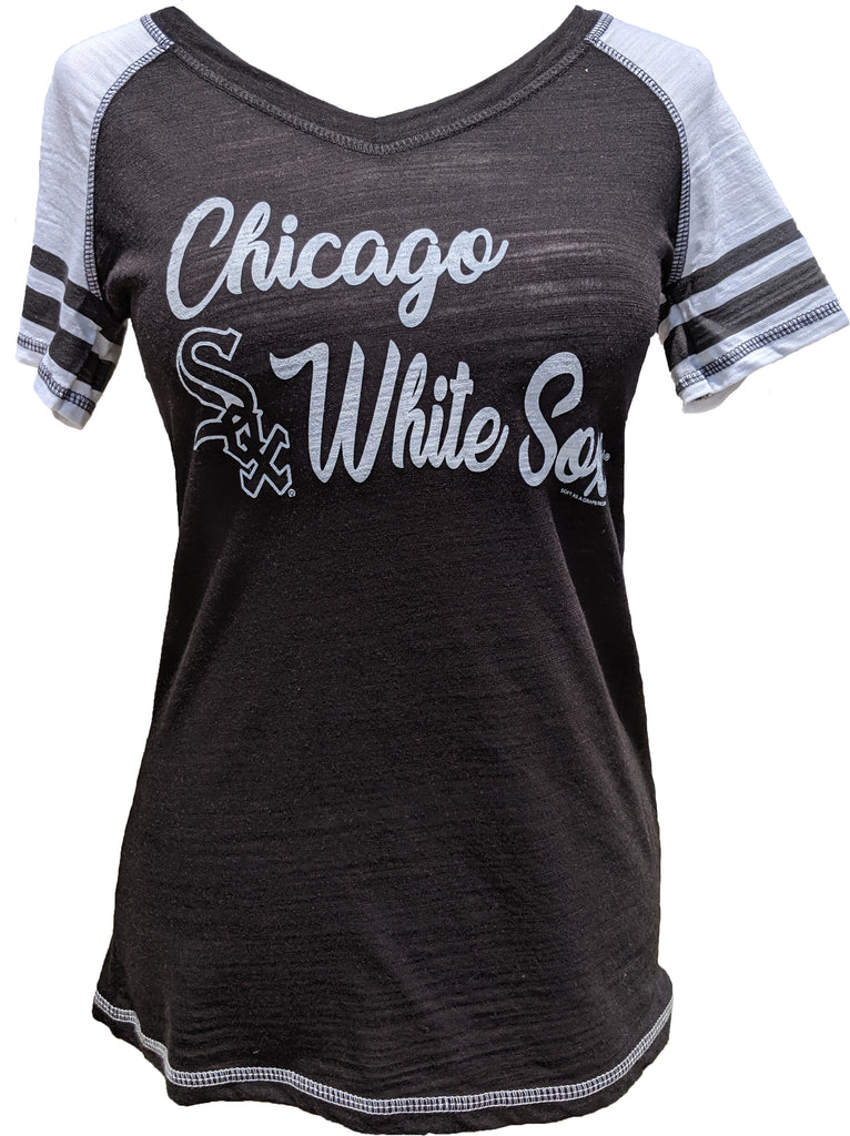 Chicago White Sox MLB Ladies Color Block Black Tee With Striped Sleeve