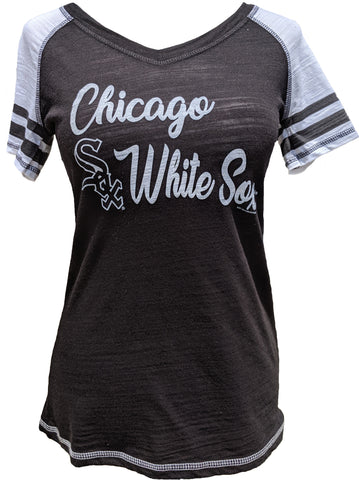 e275b4d1154d Sale Chicago White Sox MLB Ladies Color Block Black Tee With Striped Sleeve