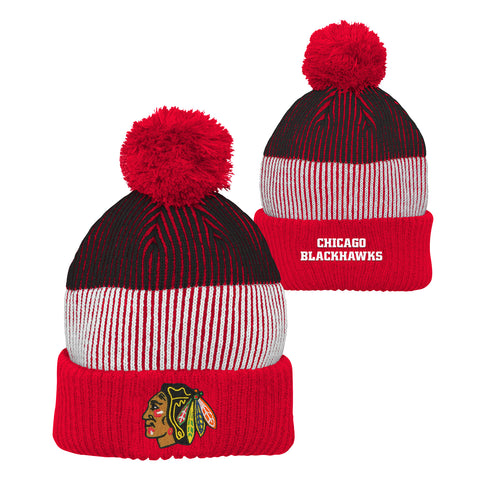 NHL Chicago Blackhawks Youth Legacy Collection Black/Red/White Hat With Red Pom
