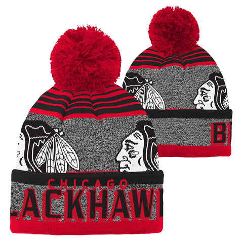 NHL Chicago Blackhawks Youth Hawks Logo Grey Hat With Red Pom