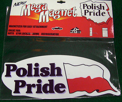 Bulk Of 12 Polish Pride Mega Magnet Red and White for Refrigerator Locker