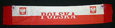 "Polish Polska Poland banner scarf mini NEW w/ glass window suction cup 19"" inch"