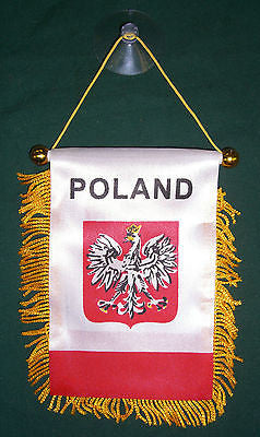 "Poland Polish Polska banner mini flag w/ suction cup car window hanger 4""x6""in"