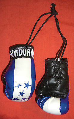 "Honduras Boxing Gloves Mini Olympics Soccer Mirror Car Hanging 2"" x 4"""