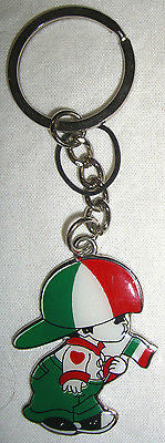 "Italy Italian key chain keychain kid figure calcio soccer Olympic metal 1.5""in"