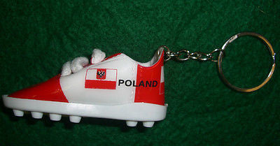 Poland Soccer Shoe Key Chain Red and White Polish Polska