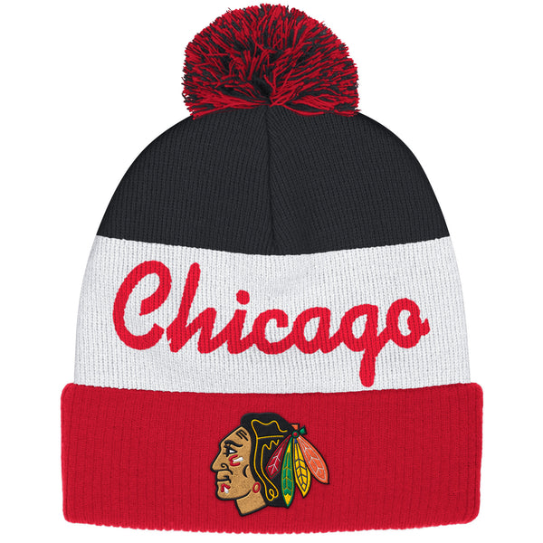 Chicago Blackhawks Youth 8-20 Reebok Face Off Pom Knit Hat