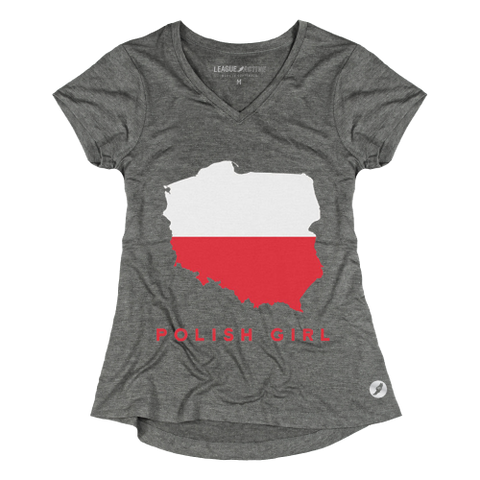 League Active Women's Tri-flex V-Neck T-Shirt Poland Polish Gray