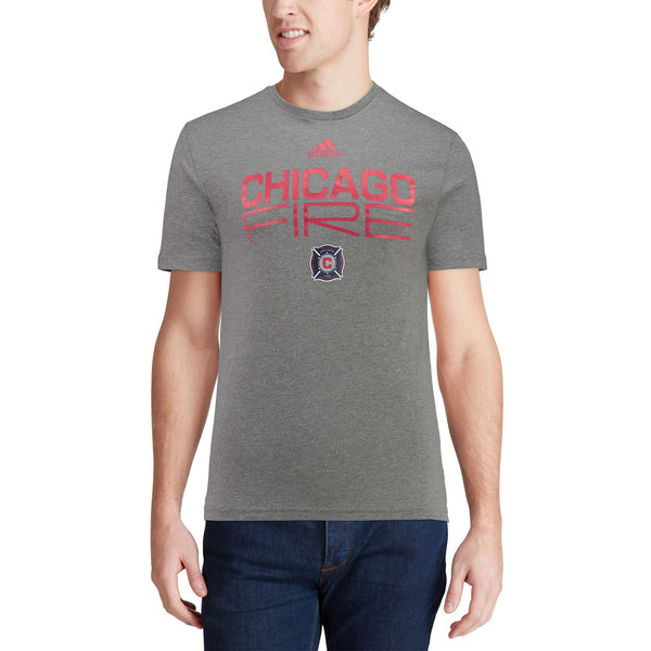 Men's Chicago Fire adidas Gray Tri-Blend Locker Stacked Short Sleeve T-Shirt