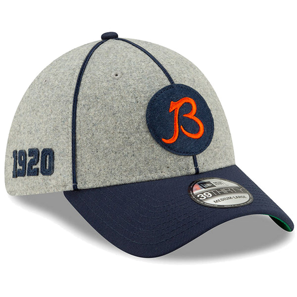 New Era Men's Heather Gray/Navy Chicago Bears 2019 NFL Sideline Home Official 39THIRTY 1920s Flex Hat