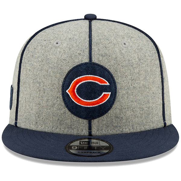 New Era Men's Heather Gray/Navy Chicago Bears 2019 NFL Sideline Home Official 9FIFTY 1920s Snapback Adjustable Hat