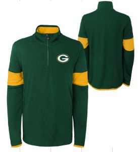 Green Bay Packers Youth 1/4 Zip Pullover Sweater - Green