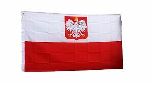 "Polska Polish Poland Flag 12""x18"" 2-Sided Polyester Canvas Boat Flag"