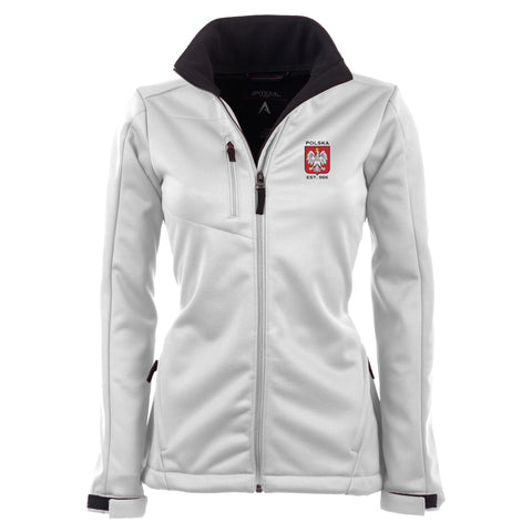 Poland Women's Antigua White Traverse Polska Eagle Full Zip Jacket