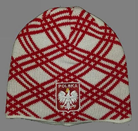 Polish Polska Crest Crisscross Knit Winter Hat - White - Made in Poland