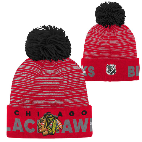Chicago Blackhawks adidas Youth Team Logo Cuffed Knit Hat with Pom - Black
