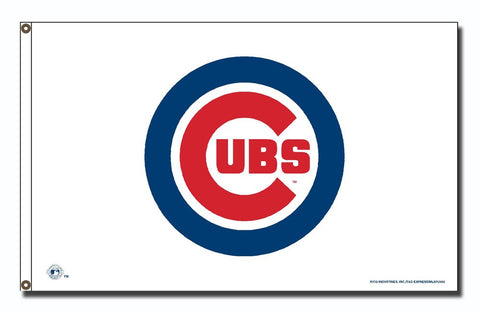 Chicago Cubs 3' x 5' White Logo Banner Flag by Rico