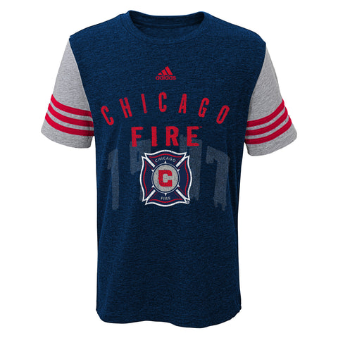 "Kids Chicago Fire Soccer Club ""Stripe City"" Tee MLS Short Sleeve Adidas T-Shirt"