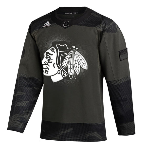 Chicago Blackhawks adidas Camo 2019 Veterans Day Authentic Practice Jersey