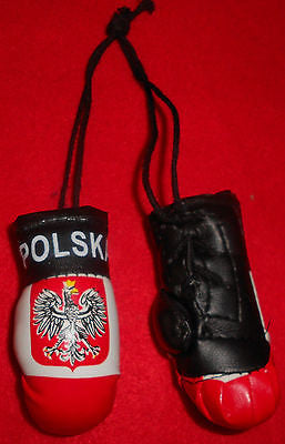 "Bulk Of 6 Polish Polska Poland boxing gloves mini Olympics mirror hanging 2""x3"""