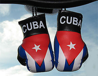 "Republic of Cuba Boxing Gloves Mini Olympics Soccer Mirror Car Hanging 2""x4""in"