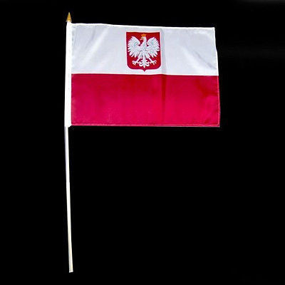 "Bulk of 12 Polish Flag On A Stick With Eagle Polyester 12"" x 18"" Poland Polska"