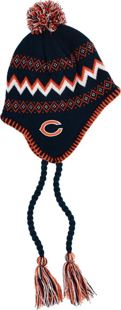 Chicago Bears Toddler 2T-4T Tassel Knit Laplander Cap with Pom
