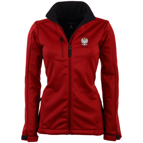 Poland Women's Antigua Red Traverse Polska Eagle Full Zip Jacket