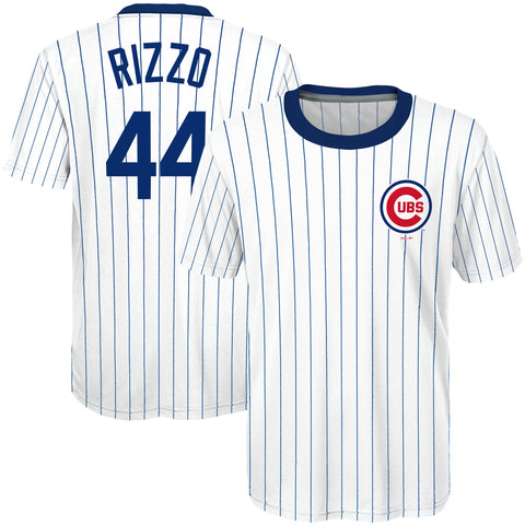 Chicago Cubs Youth Anthony Rizzo #44 Cooperstown Sublimated T-Shirt Jersey - White