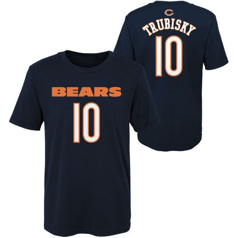"Youth Mitch Trubisky #10 Chicago Bears ""Mainliner"" Name and Number Short Sleeve T-Shirt"